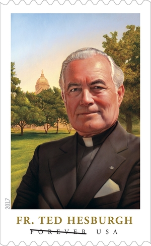 Rev. Theodore Hesburgh's Forever stamp honors the Syracuse native 100 years after he was born in the city.